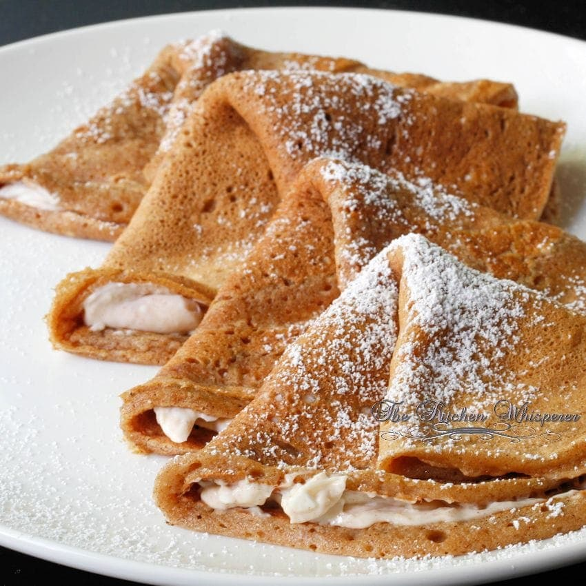 Harvest Spice Pumpkin Crepes with Cinnamon Cream Filling