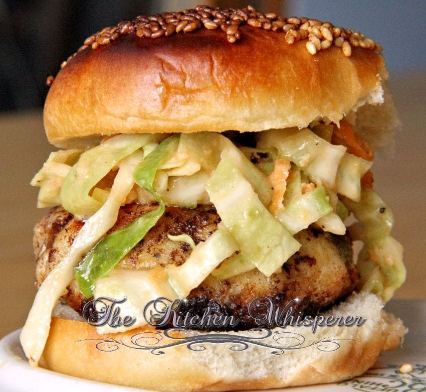 Pin to save this White Fish Burgers with a Spicy Slaw