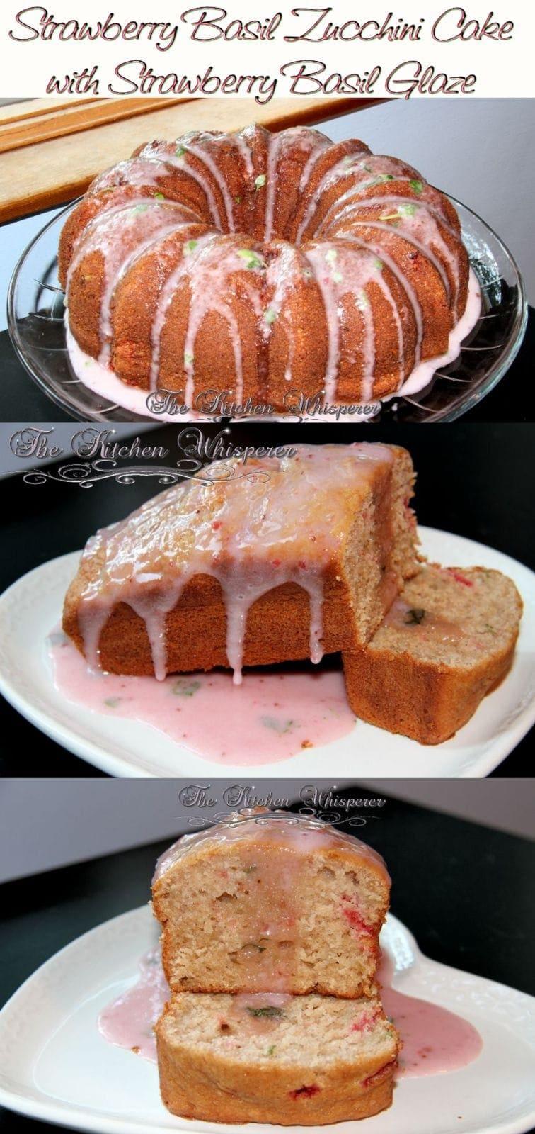 Strawberry Basil Zucchini Cake-collage