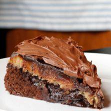 Brownie Peanut Butter Cup Fudgy Ganache Cake