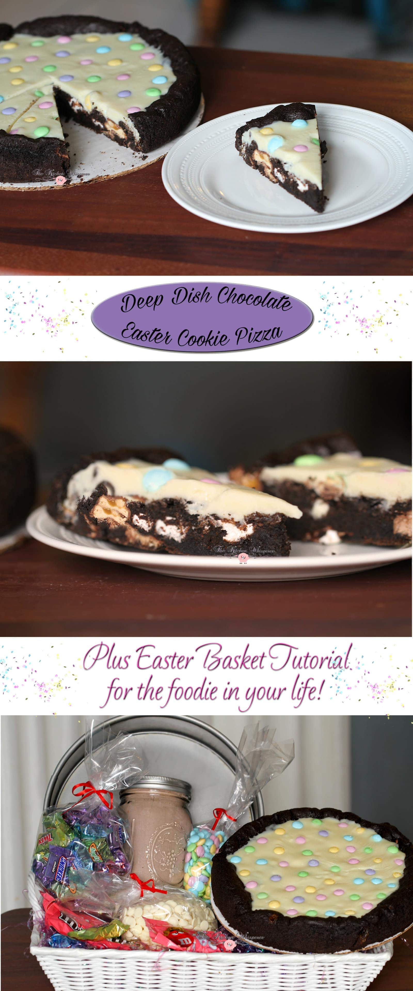 Chocolate Easter Pizza Cookie Basket Collage