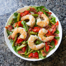 Roasted Shrimp Spinach Salad with Warm Bacon Honey Dijon Vinaigrette!
