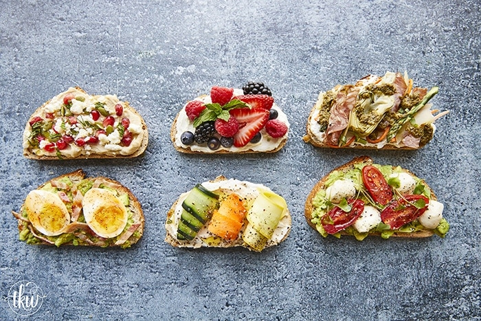 6 Gourmet Toast recipes to upgrade your toast! 2 types of avocado toast that will tantalize your taste buds. 2 types of Hummus toast toppings and 2 types of Whipped Ricotta. From meat lovers to vegetarian, healthy to dessert, these recipes are what you need in your life!