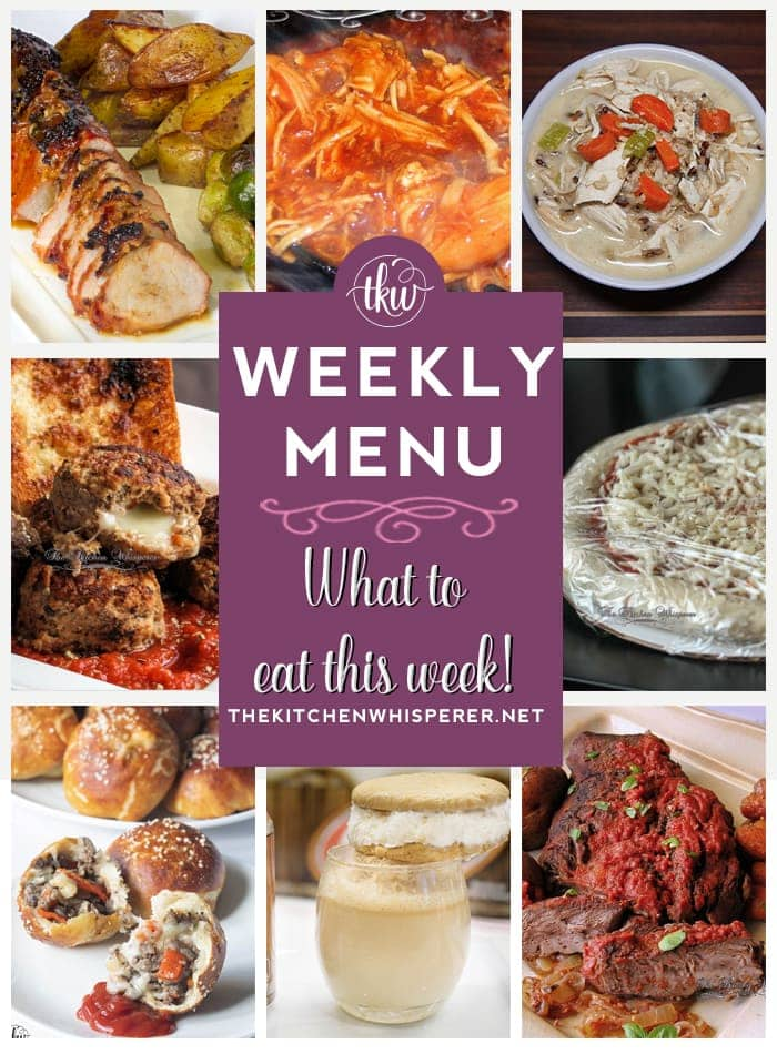 These Weekly Menu recipes allow you to get out of that same ol' recipe rut and try some delicious and easy dishes! This week I highly recommend making the Mozzarella Stuffed Italian Meatballs and Pasta, the Root Beer Float Ice Cream Sandwiches, and the Pretzel Bun Philly Cheesesteak Bombs!