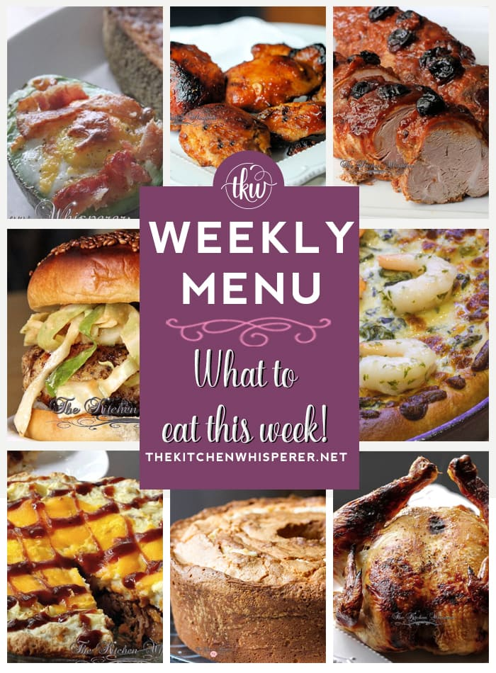 These Weekly Menu recipes allow you to get out of that same ol' recipe rut and try some delicious and easy dishes! This week I highly recommend making the Spinach & Artichoke Crispy Skillet Pan Pizza with optional Garlic Butter Herb Shrimp, the Whiskey Pulled Pork Shepherd's Pie with Cheddar Biscuit Crust, and the Cherry Chipotle Cola Pork Tenderloin!