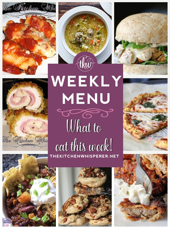 These Weekly Menu recipes allow you to get out of that same ol' recipe rut and try some delicious and easy dishes! This week I highly recommend making the Italian Wedding Soup, the Pork Cutlets, and the White Bean & Corn Veggie Burgers!