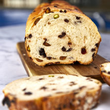 This Artisan Cranberry Pistachio Chocolate Chip Bread is a bread lover's dream! Slightly sweet & salty that's perfect for morning toast or for one amazing sandwich. Bakery style bread from scratch!
