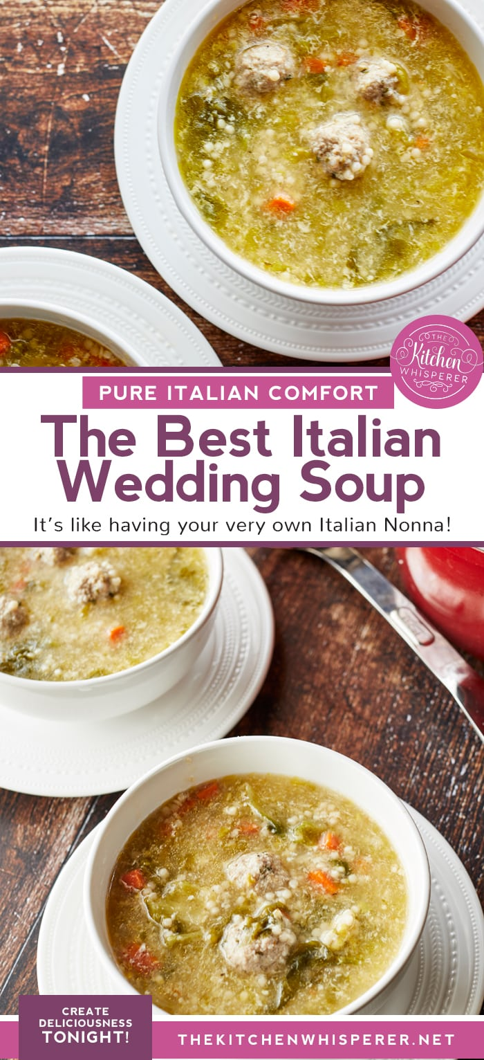 This Authentic Italian wedding soup is like a bowl of pure comfort and a hug from an Italian Nonna! Mini meatballs, escarole, carrots, and acini di pepe pasta make this the best anytime soup!