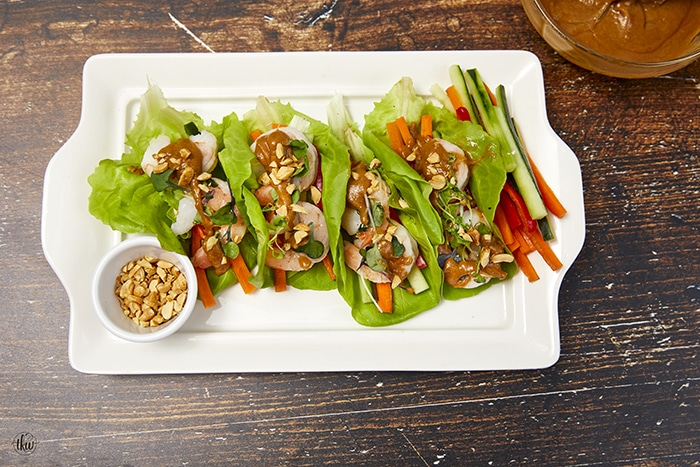 Chilled Shrimp Wrap with Spicy Peanut Sauce