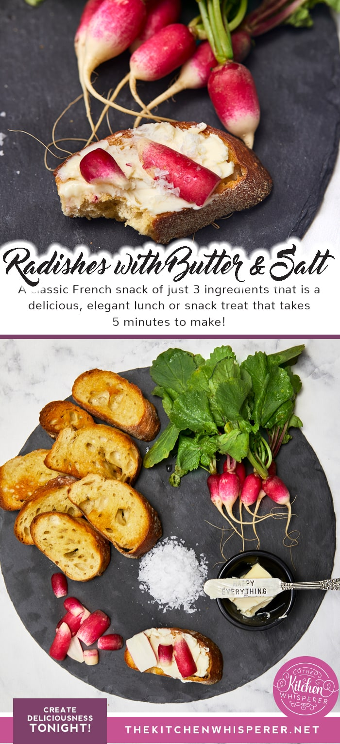 French Radishes with Butter and Salt on toast