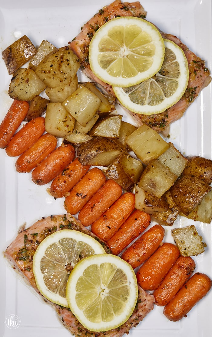 Baked Sheet Pan Lemon Dijon Salmon and Veggies