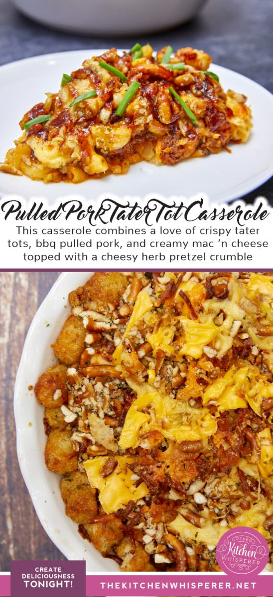 Mac 'n Cheesy Pulled Pork Tater Tot Casserole