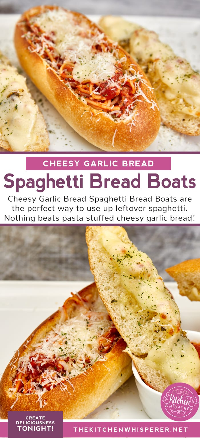 Cheesy Garlic Bread Spaghetti Boats