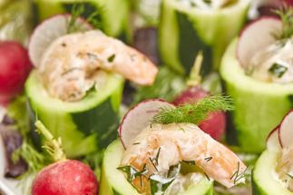 Chilled Shrimp Cucumber Cups with Creamy Herb Sauce